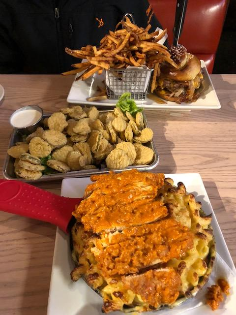 Fried Pickles and Hot Chicken Mac and Cheese at The Stillery